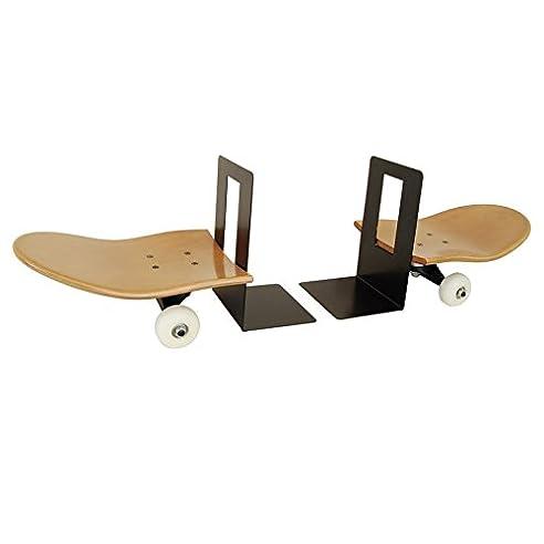 Set bestehend aus zwei bookends. Skateboard Bücherstützen boo HonigNaturholz