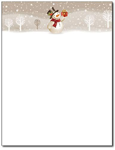 (Snowman with Present Christmas Holiday Stationery - 80 Sheets - Great for Flyers, Invitations, or)
