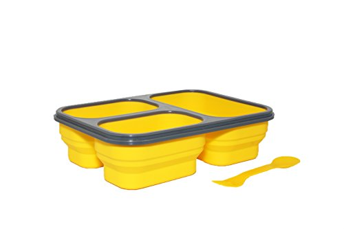 SILVER ONE Expandable & Collapsible Bento Box Silicone Container Children/Adult Lunch Box, 3 Compartments (Eco One Meal Kit) (Yellow)