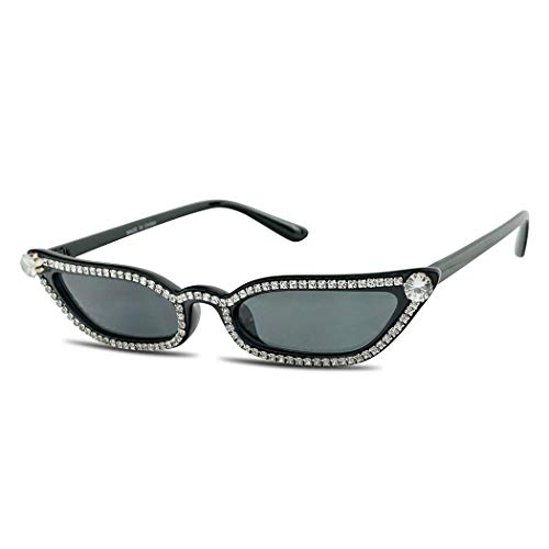 SunglassUP Retro Vintage Small and Narrow Pointed Cat EyeTinted Lens Sunglasses (Black Frame (Rhinestone) | Black)