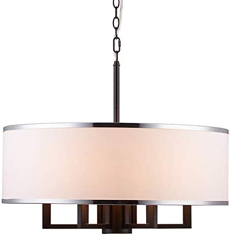 Loclgpm Modern Drum Chandelier Light, 6 Lights Metal Pendant Lighting with White Shade, Black Ceiling Lamp Fixture Hanging for Dining Room Bedroom Kitchen Island Bathroom Living Room Home