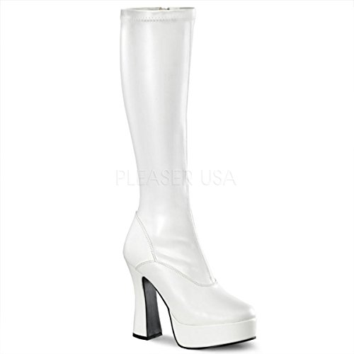 Pleaser Women's Electra-2000Z Boot,White Stretch PU,14 M US