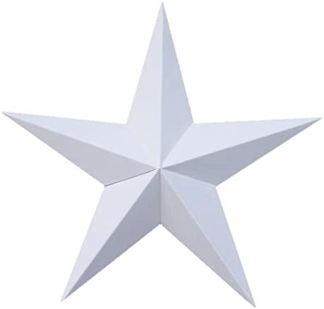 AMISH WARES 24 Inch Solid White Barn Star Made with Galvanized Metal to Prevent Rusting. Amish Hand Made Your Source for Heavy Duty Metal Tin Barn Stars and Primitive Style Stars – Made in the Usa