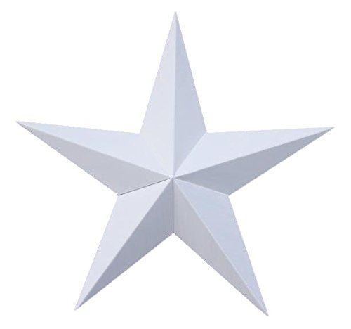 40 Inch Solid White Barn Star Made with Galvanized Metal to Prevent Rusting. Amish Hand Made Your Source for Heavy Duty Metal Tin Barn Stars and Primitive Style Stars for Your Country Crafts and Home and Garden Decor. American Handcrafted - Made in the Usa!