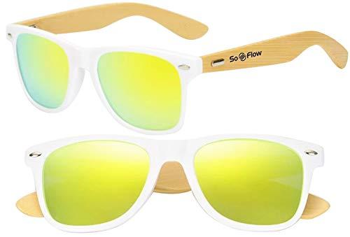 Yellow Neon Mirrored Polarized Wood Sunglasses Men Women Wooden Mirror Wayfarer Bamboo White Frame UV-400 Gold/Yellow Lens Polarized Sunglasses Wood Bamboo Cool Beach Pool Driving Fishing Shades