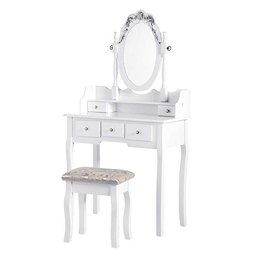 PaPaJet VanityTable Sets Makeup Dressing TableDesk withOval Mirror Cushioned Stool and 5 Drawers, for Girls Women Bedroom, White (Girls Bedroom Vanity)