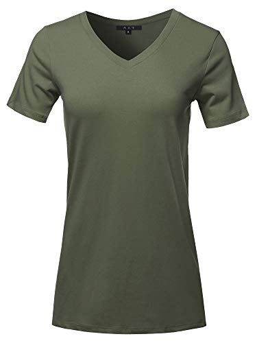 Basic Solid Premium Cotton Short Sleeve V-Neck T Shirt Tee Tops Dark Olive 3XL