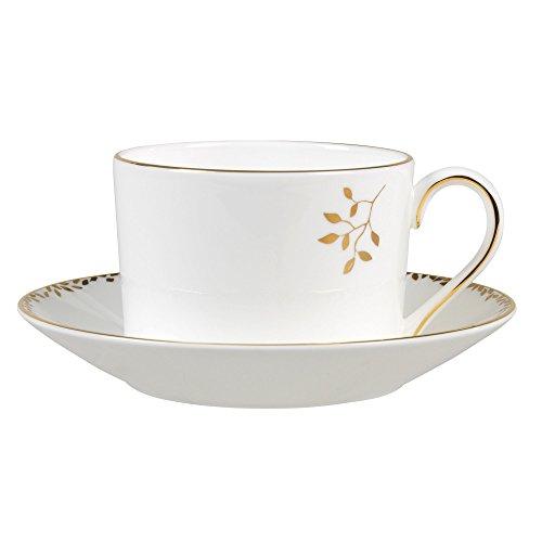 Wedgwood Gilded Leaf Tea Saucer Imperial, - White Wedgewood Teacup