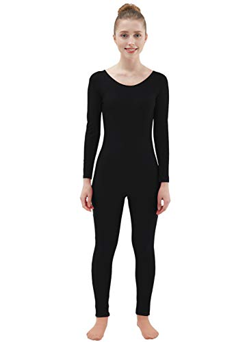 Bodysuit Catwoman Costumes - Ensnovo Womens Spandex Bodysuit Long Sleeve Scoop Neckline Footless Unitard