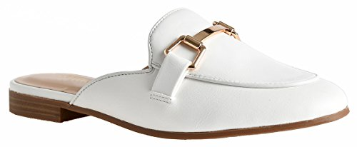 Lusthave Womens Gold Plated Slide On Slip On Mule Loafer Flats Shoes White Pu