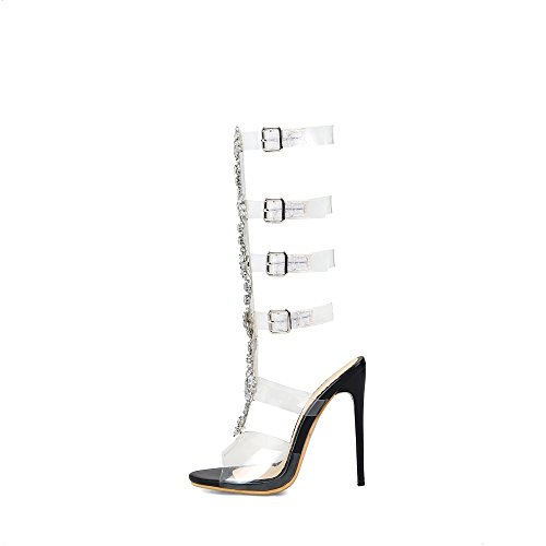 Carolbar Womens Transparent Rhinestones Stilettos Mid-kalf Zomer Laarzen Sandalen Zwart