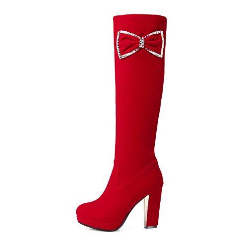 Imitado Rojo Sólido Mujer AllhqFashion Lazos Botas Puntera Tacón Gamuza Alto Redonda 70wqzT