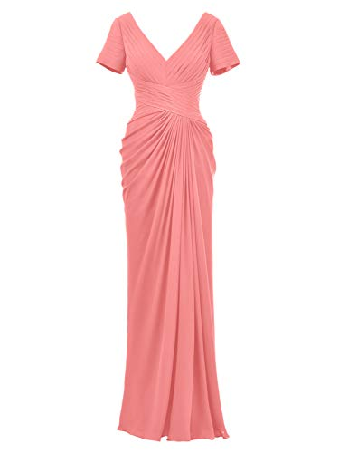 Alicepub Plus Size Evening Formal Gown Chiffon Long Mother of The Bride Dress with Sleeve, Coral Pink, US18