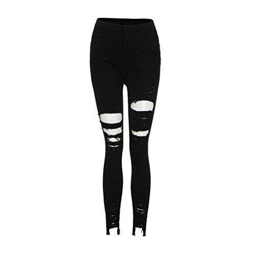 Jeans Ashop Vita Codice Fori A Donna Elastico Rotto Skinny Nero In Con Jeans Pantaloni Alta AZqUFA