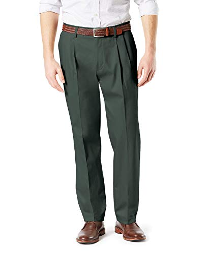 Dockers Men's Classic Fit Signature Khaki Lux Cotton Stretch Pants-Pleated, Olive Grove, 36W x 29L