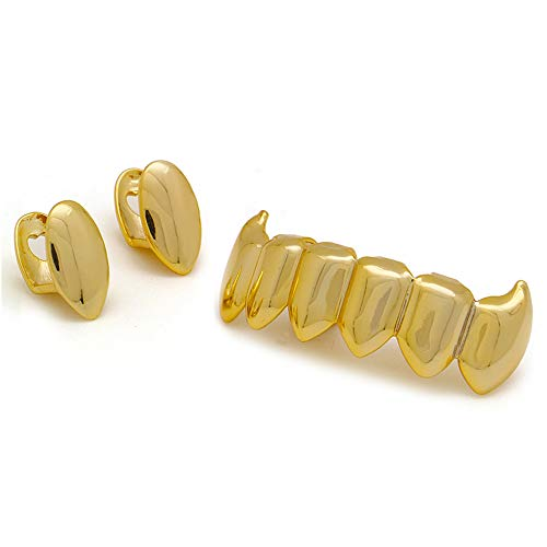 LuReen Gold 2pc Vampire Fangs Single Top and 6 Shiny Bottom Grillz Teeth Combo (Gold) -