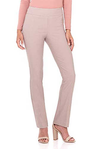 Rekucci Women's Ease in to Comfort Straight Leg Pant with Tummy Control (8,Khaki)