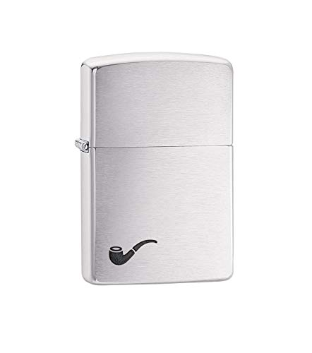 (Zippo Lighter Pipe Brushed Chrome Design , Brushed Chrome Black Pipe , One Size)