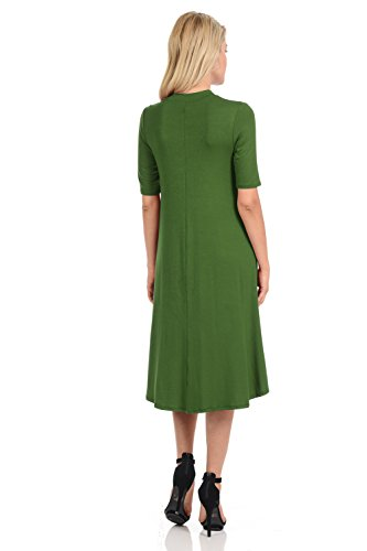 and Olive Trapeze Women's Solid iconic Print Dress Floral Mock Neck luxe Midi qUaWRw8a