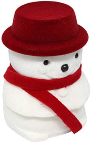 リングケース ジュエリーボックス 雪だるまデザイン 恋人 彼女 妻 親友 バレンタインデー クリスマス 贈り物 - 赤