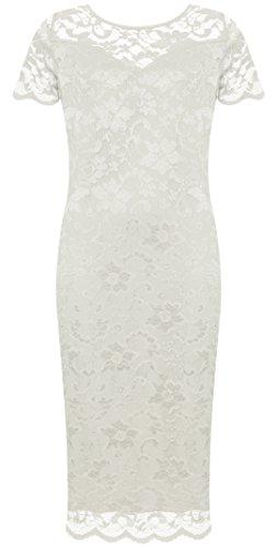 (WearAll Plus Size Women's Lace Lined Short Sleeve Midi Dress - Cream - US 18-20 (UK 22-24))