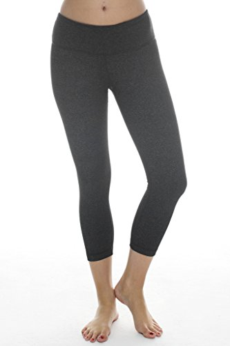 90 Degree By Reflex Yoga Capris - Yoga Capris for Women - Hidden Pocket - Black and Heather Charcoal 2 Pack - XS by 90 Degree By Reflex (Image #4)
