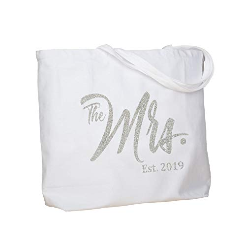 ElegantPark Future The Mrs. EST. 2019 Personalized Bride Tote Wedding Bachelorette Bridal Shower Gifts Large Shoulder Bag White with Silver Glitter (Best Bridesmaid Gifts 2019)
