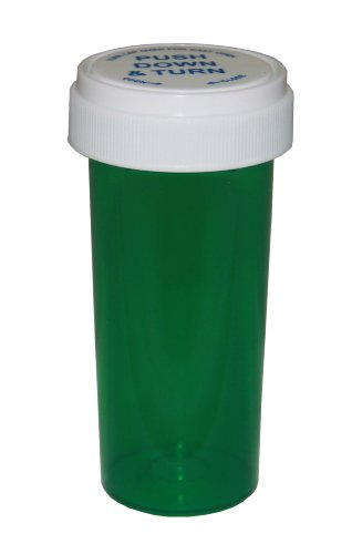Prescription Pharmacy Vials - Green Child Resistant Medicine Bottle -20 Dram- Reversible Caps-Pack of 270 -Medicine & Pill Container, Pharmacy Bottle, Pharmacy Container, Plastic Container