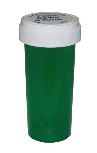 Prescription Pharmacy Vials 60 Dram Green Vials with Reversible Caps, Quantity 115 vials per case, (Caps Included)