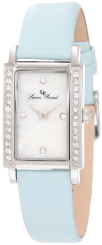 Lucien Piccard Women's 11673-02MOP-BBL Monte Baldo Crystal Accented White Patterned Mother-Of-Pearl Dial Light Blue Leather Watch