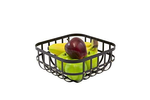Inspired Living by Mesa Inspired Living Kitchen BASKETSTAND Footed Round Bowl in Matte Black with Brass Accents Forged Collection FRUIT BASKET,