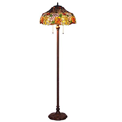 Tiffany Style Floor Lamp, Handmade Rose Design Stained Glass Floor Lamp, European Living Room Bedroom Study Decoration Floor Light (Rose Pendant Light Glass)