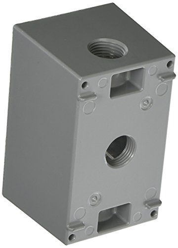 Hubbell-Bell 5385-0 2-5/8-Inch Deep Weatherproof Electrical Box with (1) Gang, (3) 1/2-Inch Outlets, 4-1/2-Inch x 2-3/4-Inch, Gray