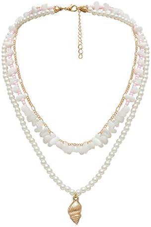 [해외]Multilayer Beads Pearl Gold Plated Shell Pendant Necklaces Fashion Long Choker for Women Ladies Girls Under 5 Dollars / Multilayer Beads Pearl Gold Plated Shell Pendant Necklaces Fashion Long Choker for Women Ladies Girls Under 5 D...