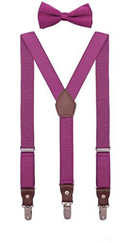 ORSKY Big Boys' Bow Tie and Suspenders Adjustable Elastic 40 Inches Magenta -