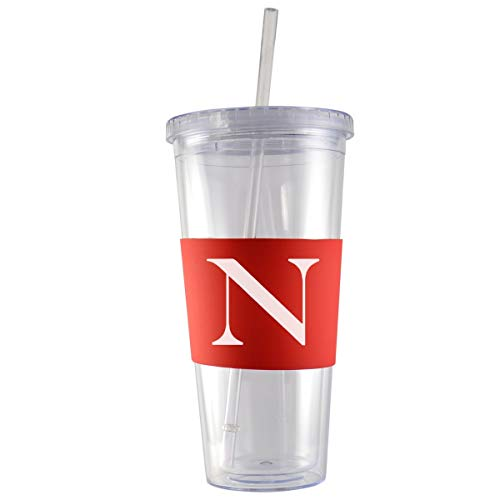 Northeastern University-24 oz. Acrylic Tumbler- Engraved Silicone Sleeve-Red