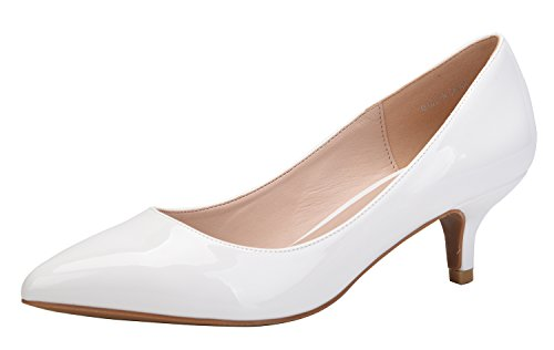 White Kitten Heels - CAMSSOO Women's Pointy Toe Pumps Slip On Kitten Heels For Wedding Party Shoes White PU Size 10.5 EU43