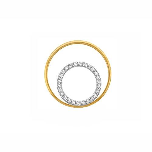 Or Jaune 14 ct Pendentifs Diamant en forme de rond, 0.14 Ct Diamant, GH-SI, 0.88 grammes.