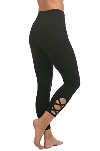 In Touch Women's Organic Cotton Workout Pants Capri Black