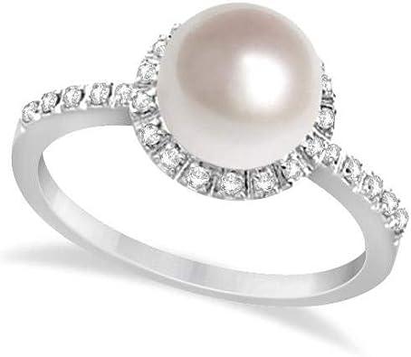 Anillo de perlas y diamantes de agua dulce Halo Oro blanco de 14 k, 0.20ctw (8 mm), Anillo de compromiso de oro Por siempre uno, Anillo de bodas, Anillo de oro de promesa