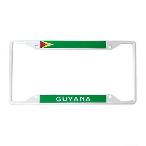 Desert Cactus Country of Guyana Flag License Plate Frame for Front Back of Car Vehicle Truck Guyanese ()