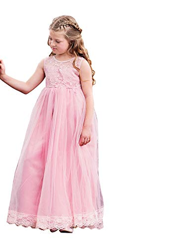 Big Girls Rose Lace Bow Floor Length Scarlett Junior Bridesmaid Dress 10-12 from Just Couture