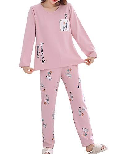 Vopmocld Big Girls 2 Piece Pajama Sets Balloon and Cats Design Cotton Sleepwear Kids PJS