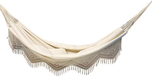 MacaMex Brasil Comfort Premium MA-01070 Double Hammock Brazilian Cotton with Macramer Sand 400 x 170 x 150 cm Natural