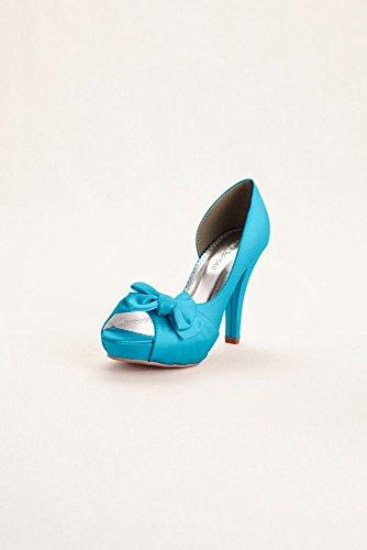 Satin Peep Toe Platform High Heel With Bow Detail Style Maribelle, Malibu, 8 Satin Peep Toe Platform