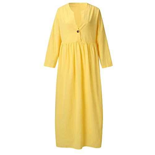 (Dressin Plus Size Dress Womens Summer Long Sleeve Linen Dress Loose Party Sundress Button Solid Beach Casual Dress Yellow)