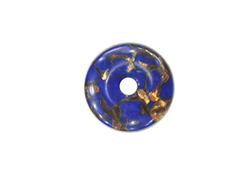 Lapis Donut Lazuli - 40MM Gemstone Pendants,Gemstone Beads for Necklace,Gem Jasper for DIY (Copper Synthetic Lapis Lazuli Jasper)