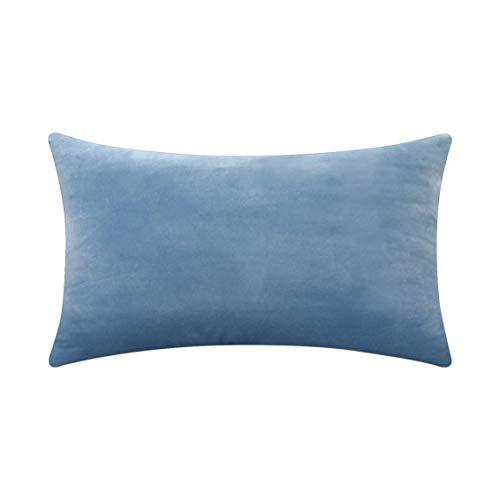 HOME BRILLIANT Oblong Velvet Cushion Cover Decorative Throw Pillow Case for Toddler Kids Girls, 12 x 20 Inches (30x50cm), Duck Egg Blue