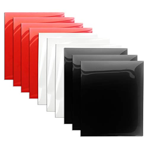 Heat Transfer Vinyl Black White and Red HTV Bundle 12x10 Iron On Vinyl for T Shirt 10-Pack