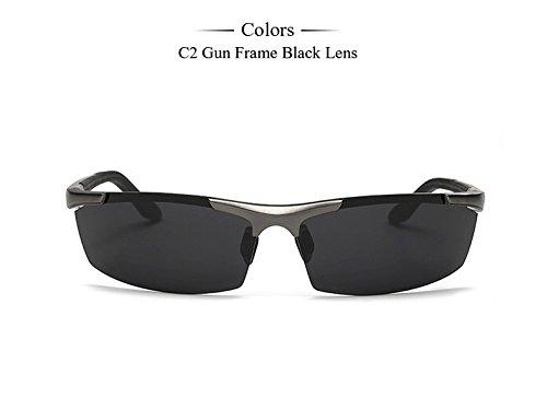 sol óculos de Hombres aluminio marco gafas color gafas calidad magnesio polarizadas Hombres Accesorios alta sol C2 de plata Hombres Gafas Frame Gun TIANLIANG04 de C3 de wqCp07x